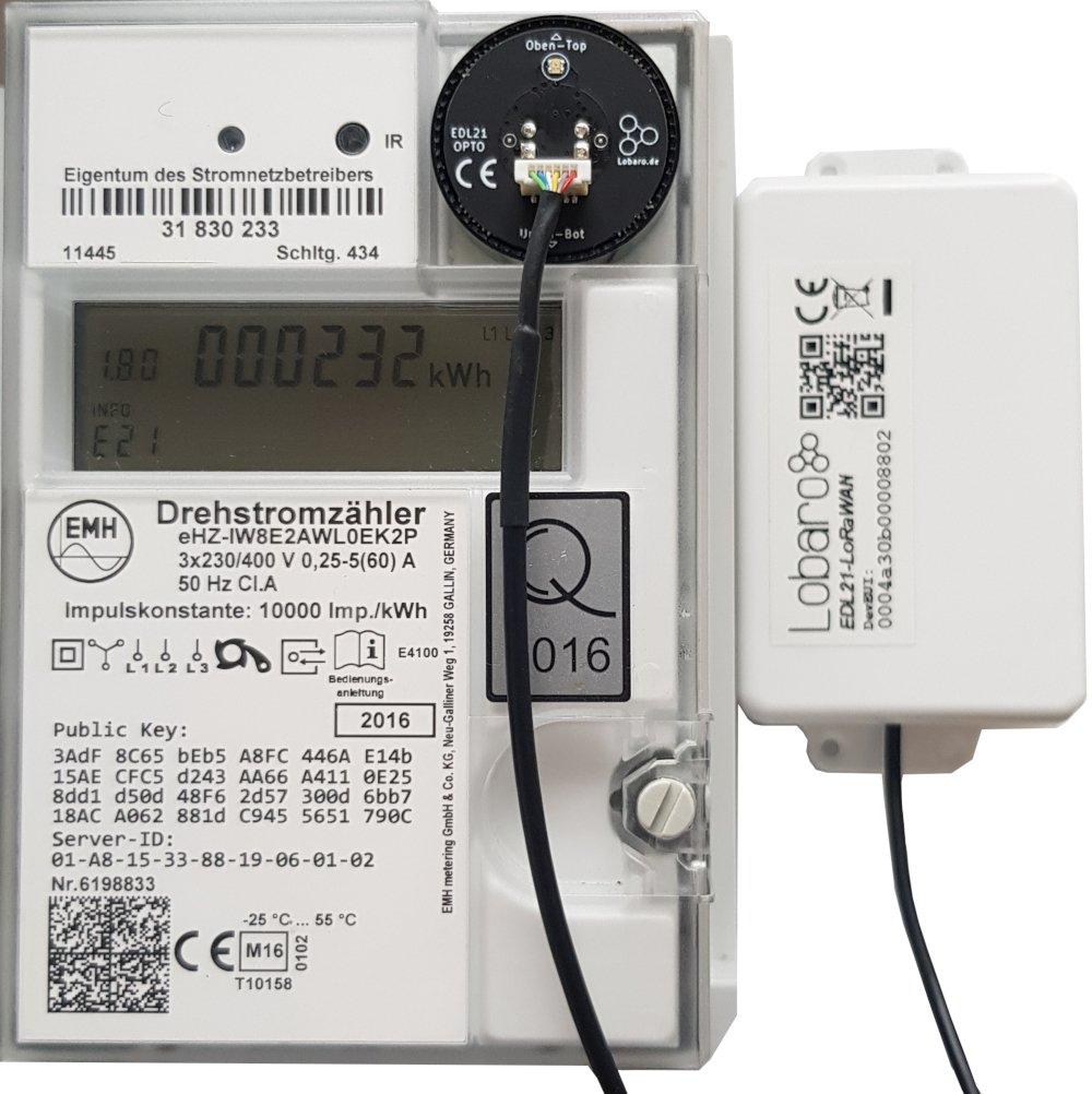 Lobaro EDL21 Optokopf auf intelligenten Stromzähler