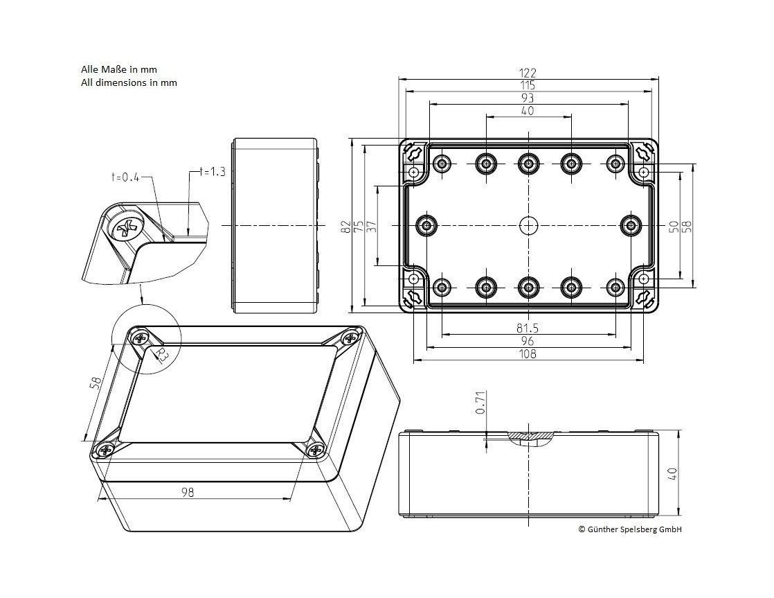 Dimensionen Lobaro Gehäuse / Housing