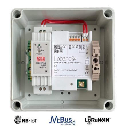 230V external powered wireless M-Bus NB-IoT Gateway with LoRaWAN Uplink